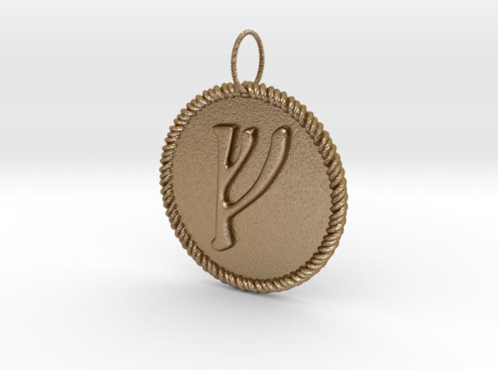 Nordic Fehu Rope Pendant 3d printed