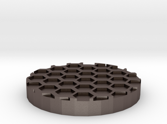 "Hex Grid 1"" Circular Miniature Base Plate 3d printed"