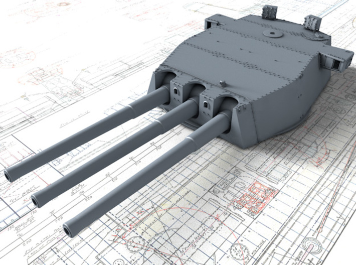 "1/350 HMS Lion Class 16""/45 (40.6 cm) MKII Guns x3 3d printed 3D render showing B Turret"