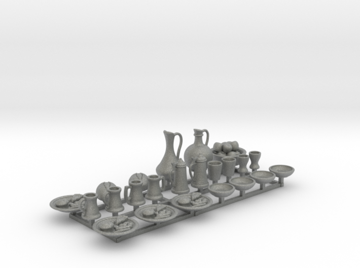 Medieval Feast table. 23 pieces for 1/24 scale 3d printed