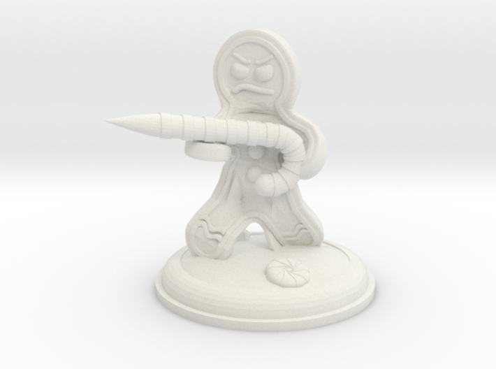 25mm Gingerbread Man with Candy Cane Weapon 3d printed