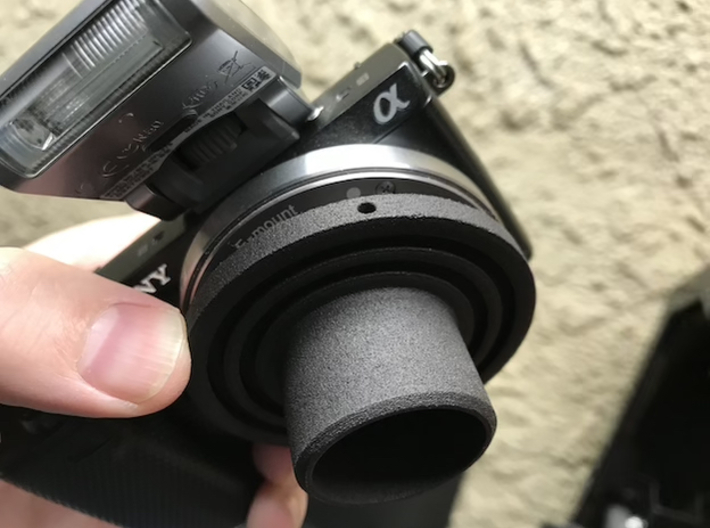 """Sony E-Mount to 1.25"""" Telescope Adapter 3d printed Insertion Alignment Hole"""