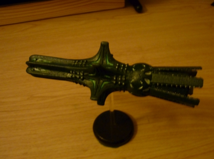 V'ger 1/500000 Attack Wing 3d printed Black Natural Versatile Plastic, painted  by Grouchus74.