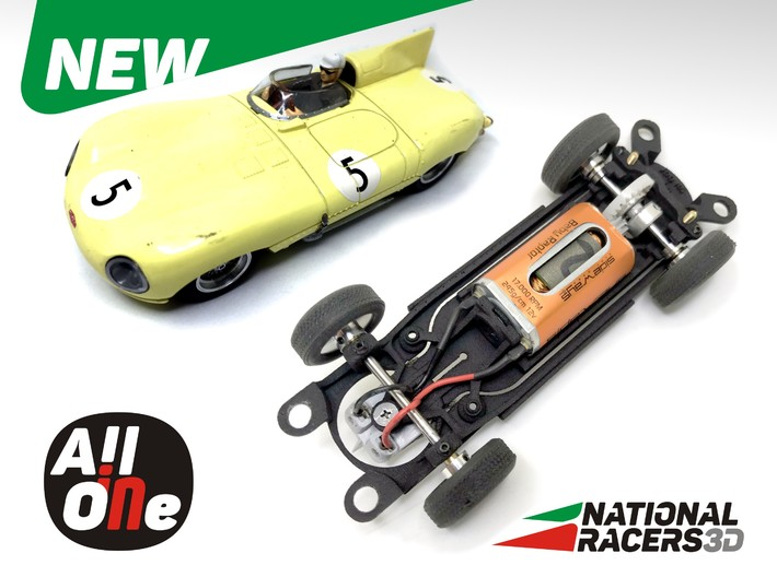 3D Chassis - Carrera Jaguar D-Type (Inline - AiO) 3d printed Chassis compatible with Carrera model (slot car and other parts not included)