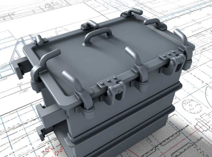 """1/35 Royal Navy 4.7"""" Ready Use Lockers (Small) x4 3d printed 3D render showing product detail"""