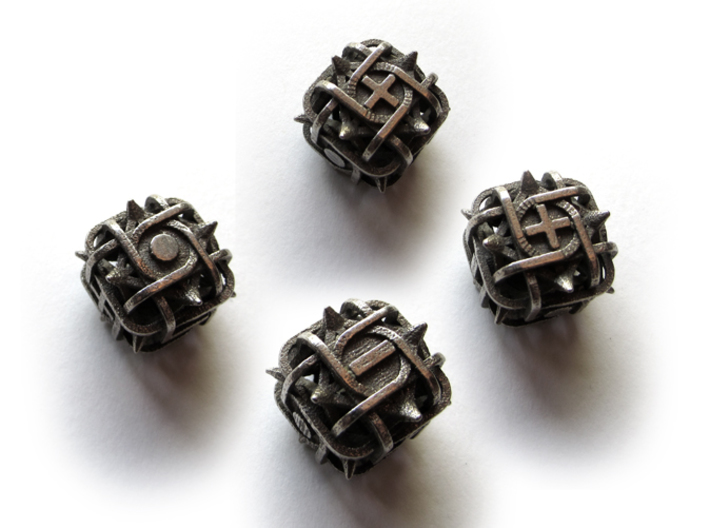 Fudge Thorn d6 4d6 Set 3d printed In stainless steel