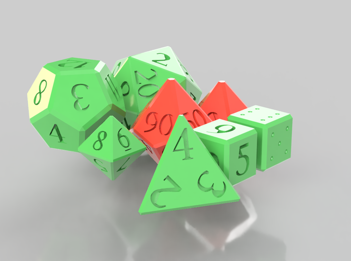 Full set of dice (d4,d6,d6,d8,d10,d00,d12,d20) 3d printed