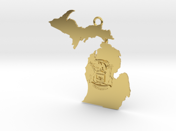 Map of Michigan with Michigan Flag Earring 3d printed