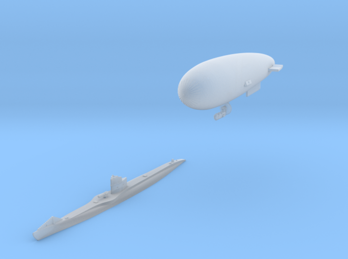 SS Zero and UBIII U-Boat set 3d printed SS Zero and UBIII set in either 1:700 or 1:600 scale by CLASSIC AIRSHIPS