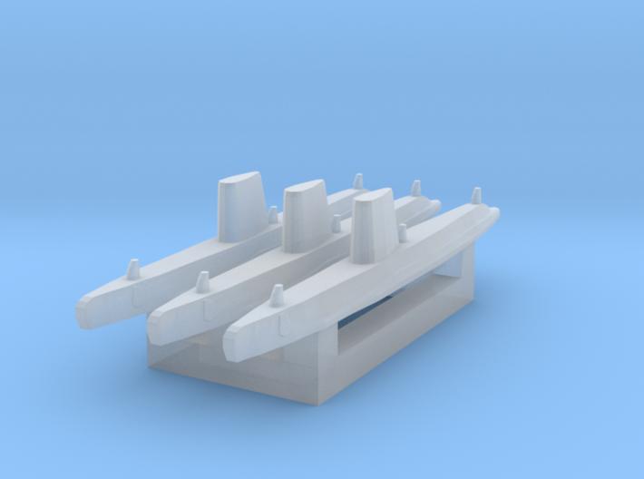 USN Guppy III sub 1/3000 x3 3d printed