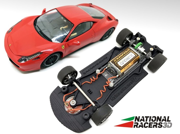 3D Chassis - Carrera Ferrari 458 Italia (Combo) 3d printed Chassis compatible with Carrera model (slot car and other parts not included)