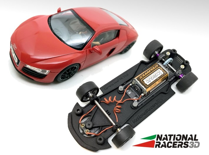 3D Chassis - Carrera Audi R8 (Combo) 3d printed Chassis compatible with Carrera model (slot car and other parts not included)