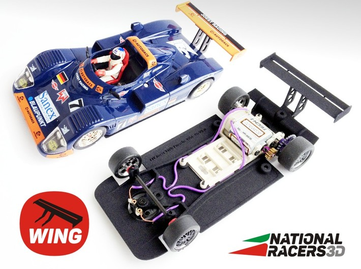 3D chassis - Fly Joest TWR Porsche WSC 95 (SW/IN) 3d printed Chassis compatible with Fly model (slot car and other parts not included)