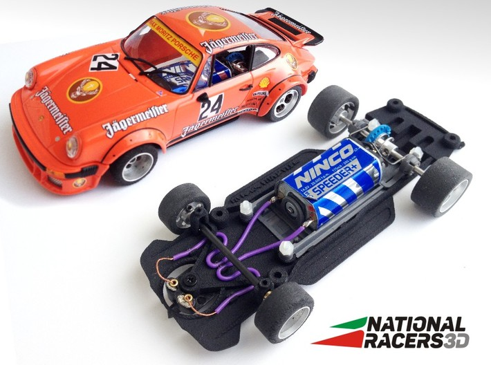 3D chassis for Fly Porsche 911/934 (Inline​) 3d printed Chassis compatible with Fly model (slot car and other parts not included)