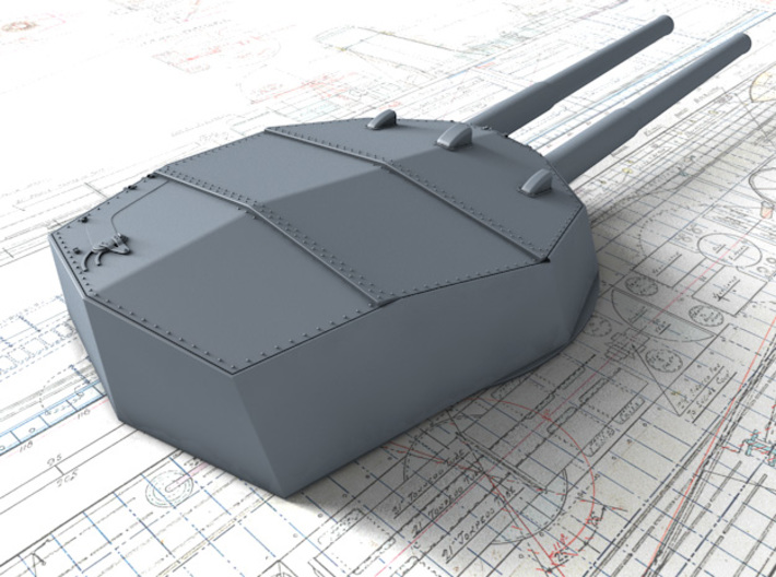 """1/192 HMS Neptune 1909 12"""" MKXI Guns x5 3d printed 3D render showing A Turret Detail"""