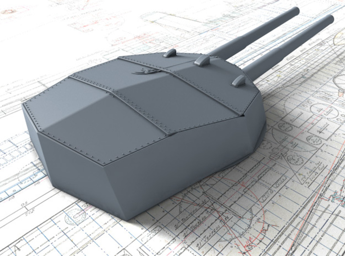 """1/192 HMS Neptune 1909 12"""" MKXI Guns x5 3d printed 3D render showing Y Turret Detail"""