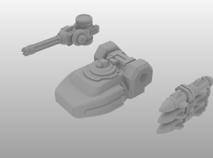 RUMV-Dual Weapon Turret 3d printed The RUMV dual weapons turret, with a pair of possible weapons (sold separately).