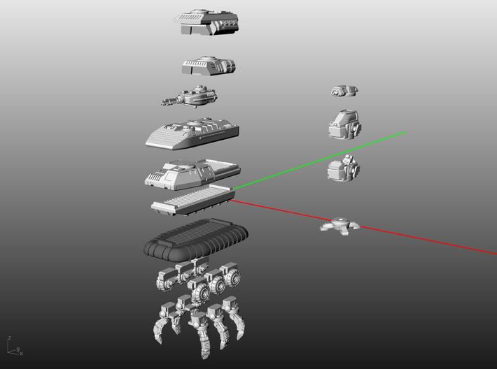 RUMV-Dual Weapon Turret 3d printed Here are a few of the many possibilities you can access with the RUMV system.