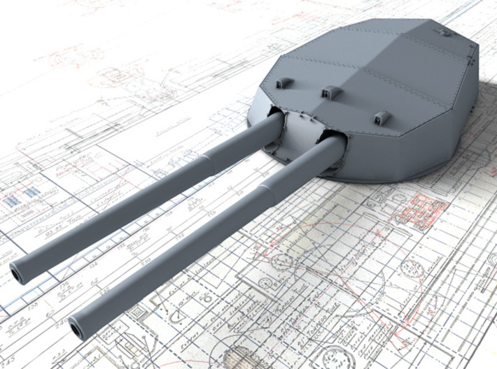 """1/600 HMS Colossus Class 1910 12"""" MKXI Guns x5 3d printed 3D render showing A Turret Detail"""