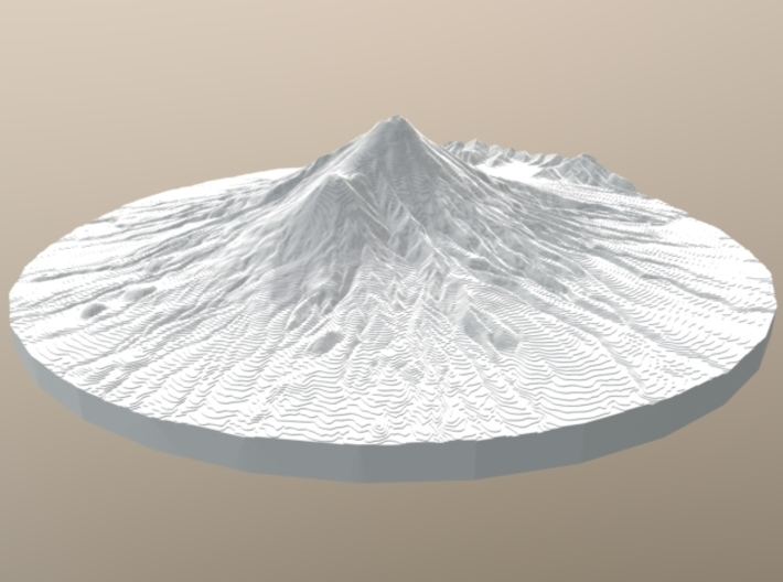 Mount Taranaki Map - Contours (10 Meter) - Large 3d printed