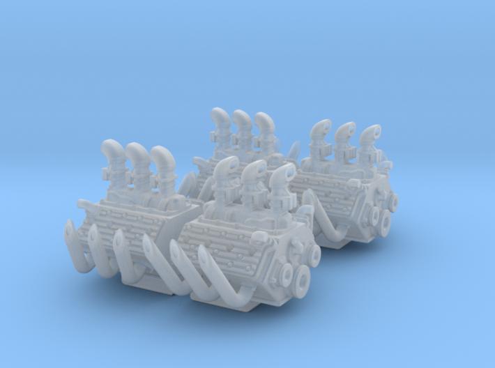 Set of 4 - Flathead V8 Triple Carb w. Race Pipes 3d printed