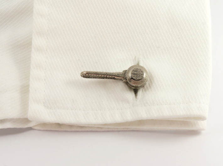 Bicycle Friction Shifter Cufflink 3d printed Stainless Steel