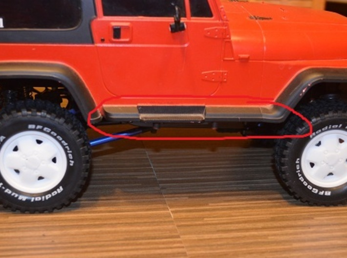 Tamiya CC-01 Jeep Rock Slider (Pipes) 3d printed Mounts located here on the body.