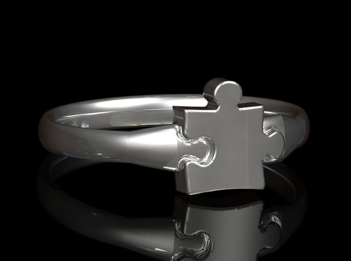 Autism Puzzle Piece Ring - Size 4 3d printed