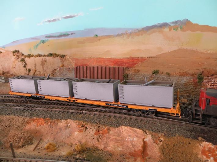 N scale 1/160 Tie or Dirt Railroad Container (sing 3d printed My thanks to Jon C for the photo of his Tie-Tubs on a flatcar.