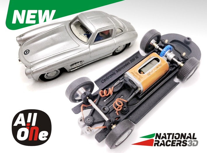 3D Chassis - Cartronic Mercedes 300SL (Inline-AiO) 3d printed Chassis compatible with Cartronic model (slot car and other parts not included)