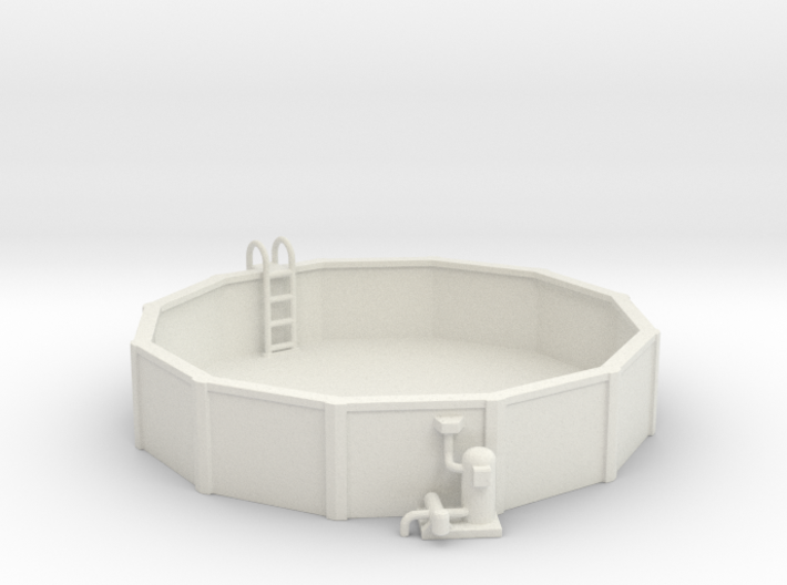 15 Ft. Pool With Ladder & Pool Pump 1-87 HO Scale 3d printed