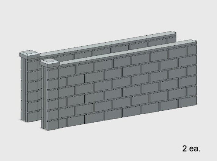 5' Block Wall - 2-Med Jointed Sections 3d printed Part # BWJ-004