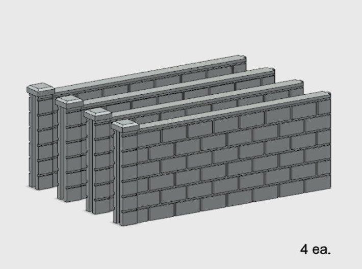 5' Block Wall - 4-Med Jointed Sections 3d printed Part # BWJ-006