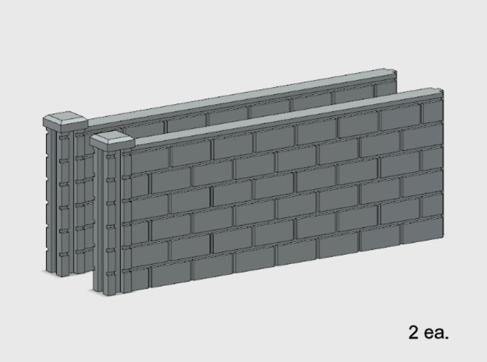 5' Block Wall - 2-Med L/S Jointed Intersections 3d printed Part # BWJ-012