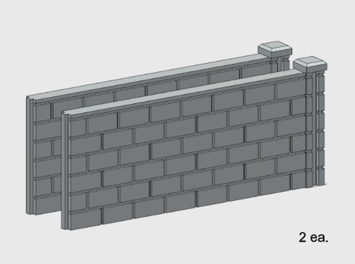 5' Block Wall - 2-Med R/S Jointed Intersections 3d printed Part # BWJ-013