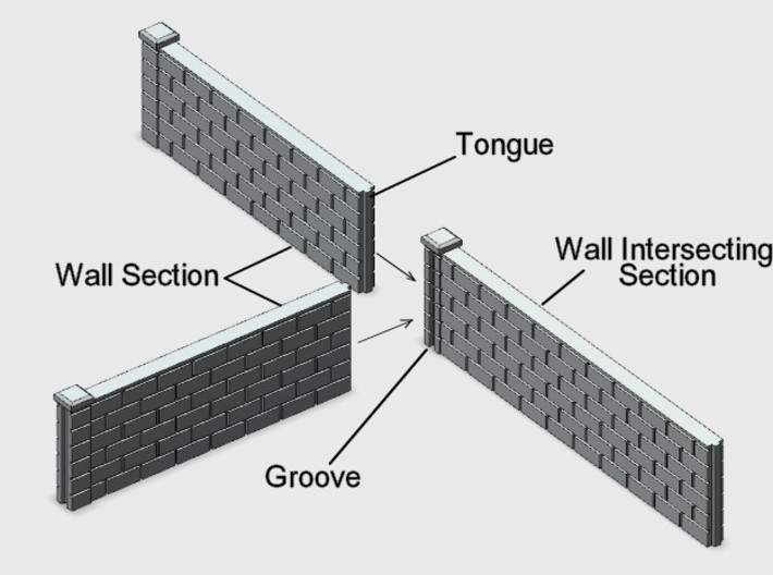 5' Block Wall - 2-Short L/S Jointed Intersections 3d printed Schematic