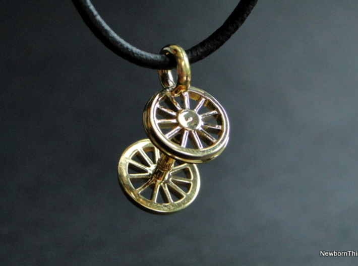 Pendant Train Axle 3d printed Polished Brass - Necklace not included