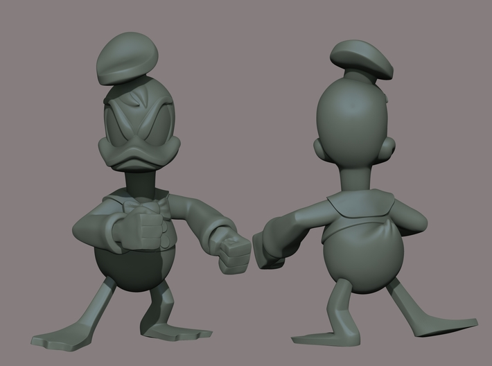 Angry Duck 3d printed Colorless Zbrush Render
