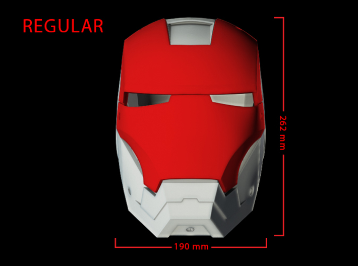 Iron Man Helmet Face Shield (Regular) Part 2 of 3 3d printed CG Render (Front Measurements.  Face shield with full helmet)