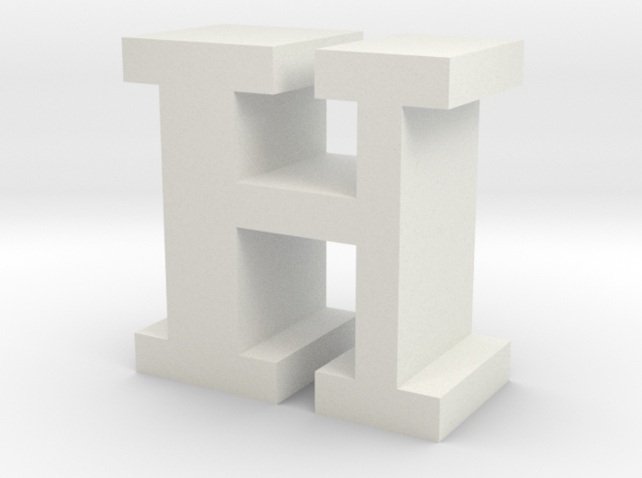 """H"" inch size NES style pixel art font block 3d printed"