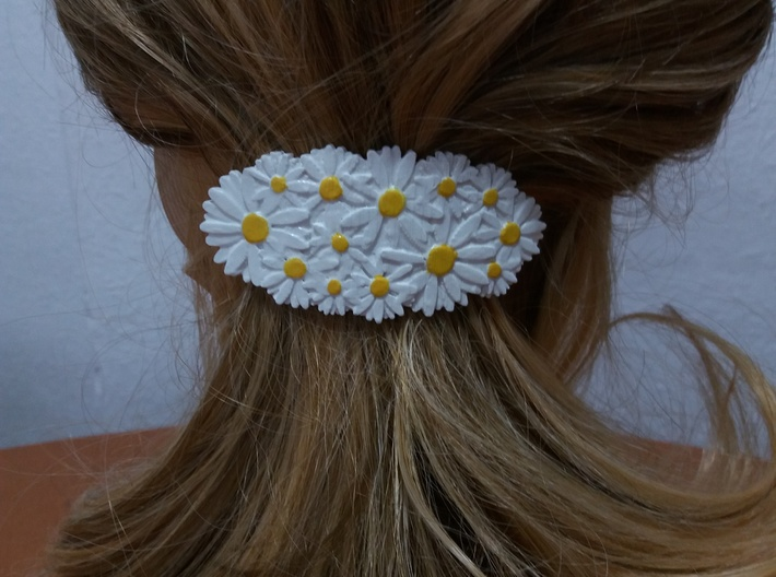 Hair Barrete with Daisies 60-76 3d printed