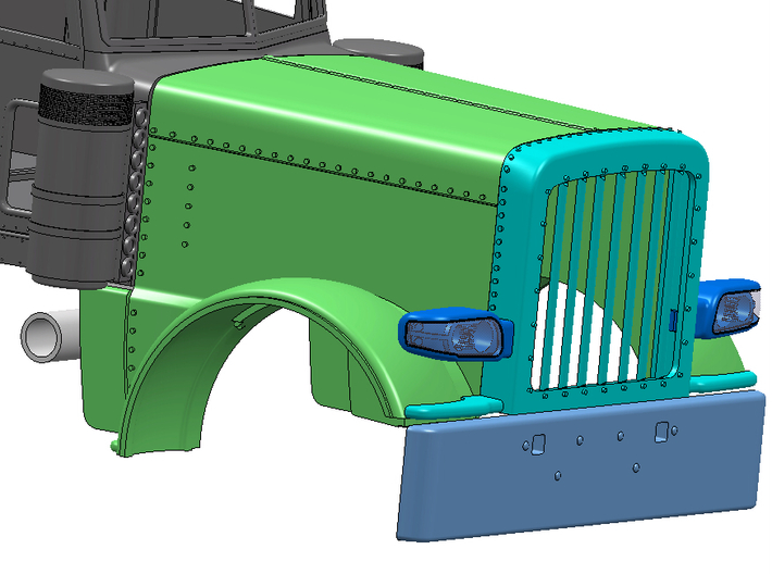 Peterbilt 389  Light LH cover 3d printed