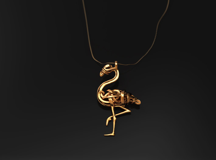 Flamingo Pendant 3d printed Flamingo Pendant in raw brass