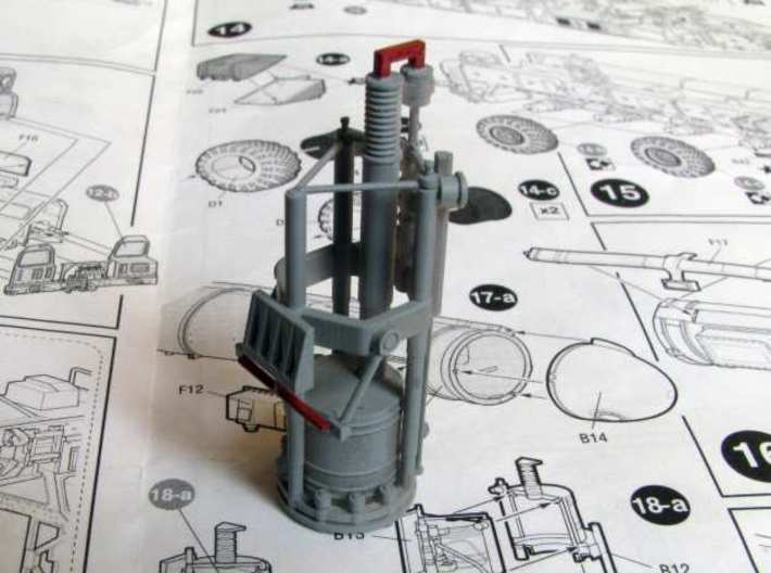 1:72 correct gyroscope for the SS-25 Topol launche 3d printed Gyro covered in primer, sprues (to be cut off) marked n red