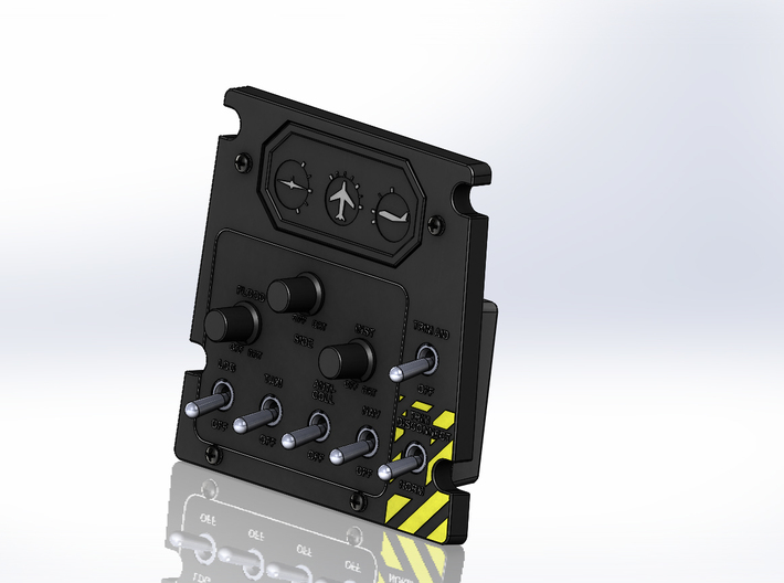 T6 Port Side Forward Switch Plate Cover 3d printed Picture of finished assembled panel.