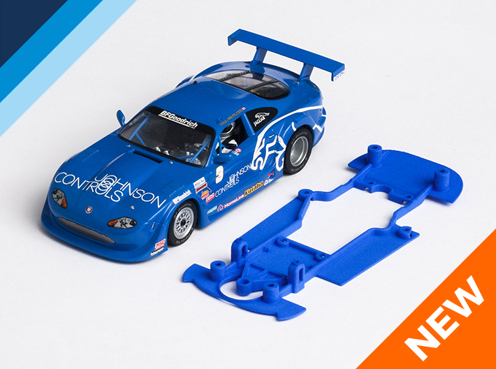 1/32 Scalextric Jaguar XKR Chassis for Slot.it pod 3d printed Chassis compatible with Scalextric Jaguar XKR Trans-Am body (not included)