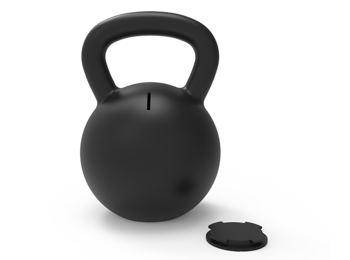 Kettle Bell Bank 3d printed Two pieces, the body and the plug
