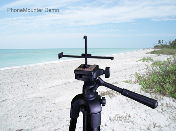 Asus Zenfone Max Shot ZB634KL tripod mount 3d printed PhoneMounter mounted on a tripod