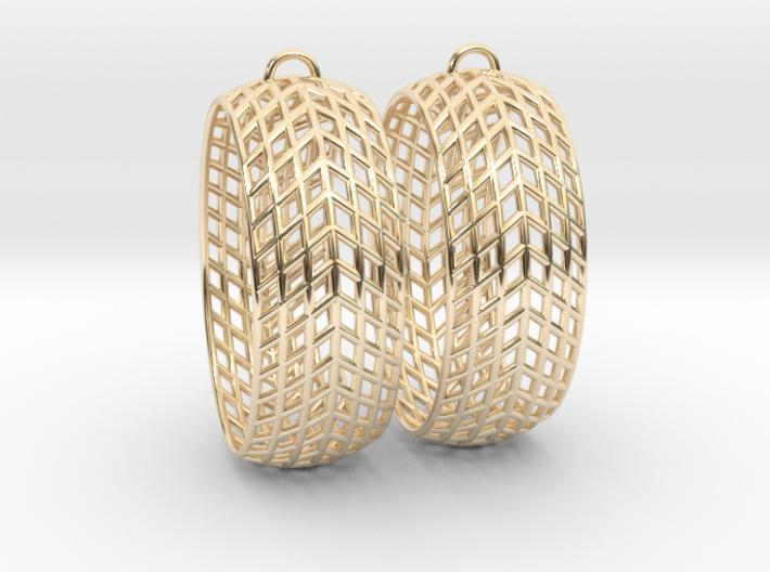 Mesh Grid Oval Hoop Earrings 3d printed