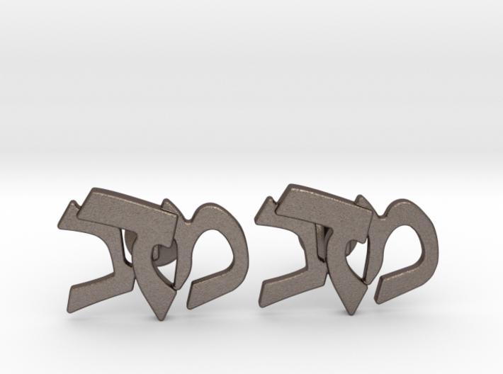"""Hebrew Monogram Cufflinks - """"Mem Bais Daled"""" 3d printed"""